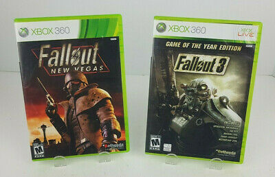 GOTY Fallout 3 + New Vegas (Microsoft Xbox360) 2 Game Lot Tested Complete