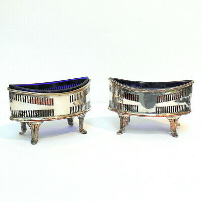 2 Georgian Old Sheffield Silver Plate Salts with Cobalt Blue Glass Liners c1790