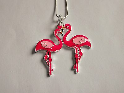 Unwanted PINK FLAMINGO LOVEBIRDS Large Charm NECKLACE + Free Gift Bag