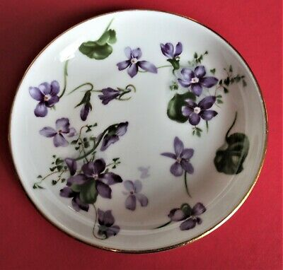 Hammersley Bone China Victorian Violets Coaster Trinket Dish 4.25 Inch Round