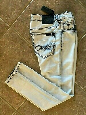 Buffalo David Bitton Evan Slim Straight Jeans Mens 34 x 32 Bleach Out NWT $9