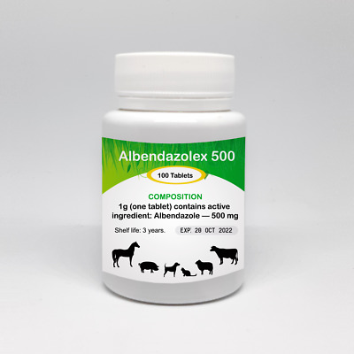 Albendazole - 500 mg  100 Tablets De Wormer Dog Cat Animals