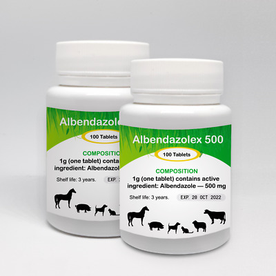 Albendazole - 500 mg  200 Tablets De Wormer Dog Cat Animals