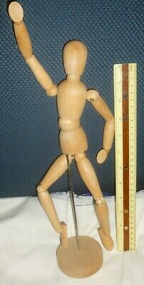 "13"" Tall WOODEN ARTISTS' POSEABLE MANNEQUIN Ball Joints, Figure Drawing Exc Cond"