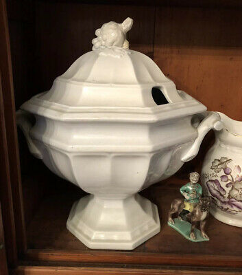 Antique French White Ironstone Compote Mid 19th Century Stunning