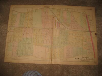Antique 1891 Morris Park Jamaica Clarenceville Queens New York Handcolr Map Fine