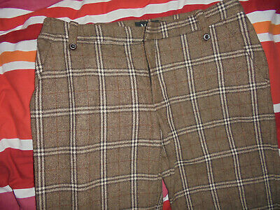 Vintage Mng Trousers Checked Checked Pattern Wool Business Flares Gr.40