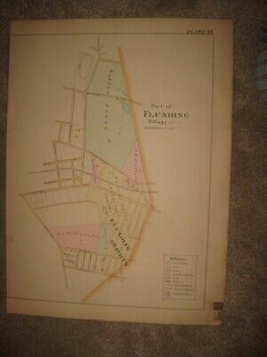 Fine Antique 1891 Flushing Village & Heights New York City Handoclored Map Fine