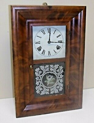 Antique Waterbury Miniature Ogee Chime Clock Floral Tablet Runs + Key Pendulum