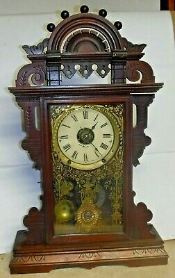 Antique Seth Thomas Eclipse Ball Top Shelf Parlor Mantle Clock Working W/ Alarm