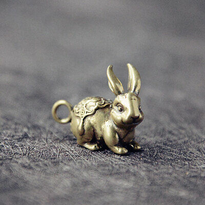 China Chinese Pure Brass Small Rabbit Statue Car Key Ring Hanging Carved Decor