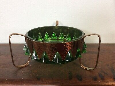 Green Glass And Copper Dish Arts And Crafts Style