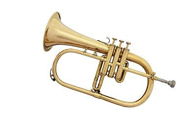 BRAND NEW Bb Flat BRASS FINISH FLUGEL HORN WITH FREE HARD CASE+MOUTHPIECE