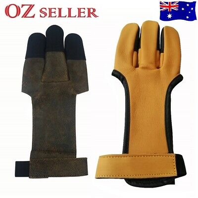 3 Fingers Archery Protect Leather Gloves For Arrow Pull Bow Hunting Shooting
