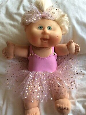 """DOLLS CLOTHES fit 14"""" CABBAGE PATCH DOLL - Tutu. Pink : Gold Stars"""