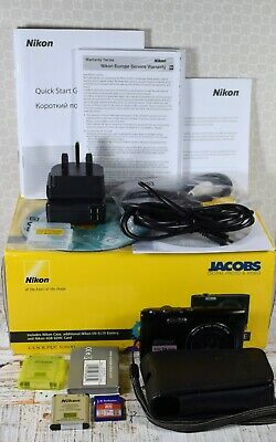 NIKON Black Coolpix S3100 14MP Wide 5x Zoom VR Digital Compact Camera Boxed +++