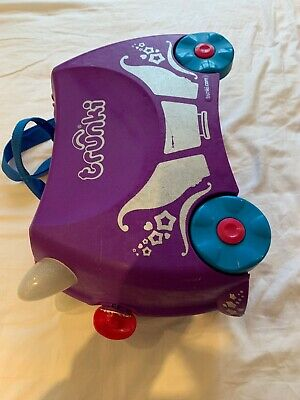 """Trunki """"princess penelope"""" purple ride on kids suitcase. hand luggage approved"""