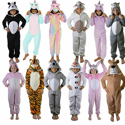 Kids Hooded Pyjamas | Girls Unicorn All-In-One Pjs | Novelty Animal Robes | SALE