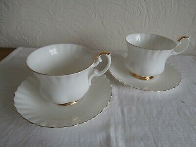 Royal Albert Val D'or Pattern: Pair Large Size Tea Cups & Saucers