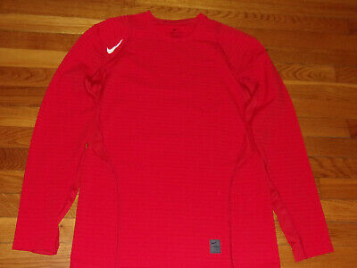 New Nike Pro Dri-Fit Long Sleeve Red Fitted Jersey Mens Large