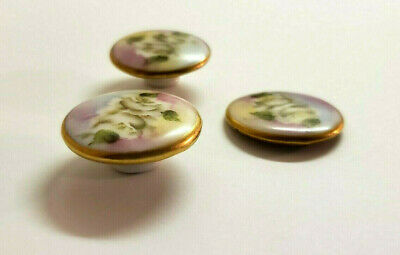 Antique Victorian Floral Buttons Porcelain China Stud Costume Gold Sewing Flower