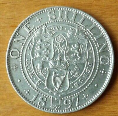 British Victorian Sterling Silver Shilling Coin 1897 About EF Grade Lustrous.