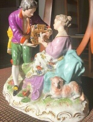Meissen Style Porcelain Figurine of Courting Couple with Lamb & Birdcage