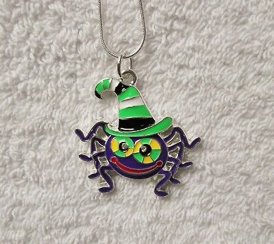 Cartoon SPIDER Inspired Large Charm NECKLACE 20 Inch Snake Chain Halloween