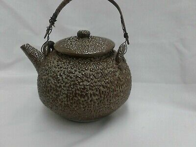 Mingei Pottery Jakatsu Glaze Tea Pot Bubble Brown Water Drop Wormy Ware