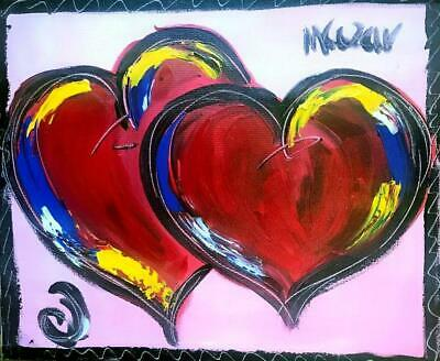Mark Kazav Original OIL CANVAS Signed w/COA painting HEARTS  VALENTINE LRTYJ65Y