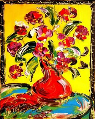RED FLOWERS  Mark Kazav  Large Abstract Modern Original Oil Painting Canvas