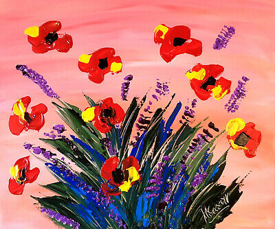 RED POPPIES  by Mark Kazav  Abstract Modern CANVAS Original Oil Painting NR