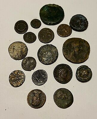17 Piece Ancient & Medieval Greek / Roman Bronze And Silver World Coin Lot