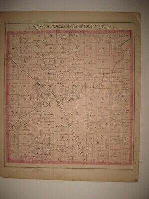 Antique 1874 Farmington Township Trumbull County Ohio Map Civil War Print Fine