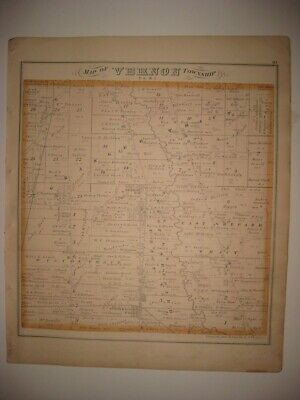 Antique 1874 Vernon Johnston Township Trumbull County Ohio Handcolored Map Fine