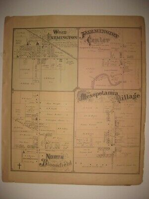 Antique Mesopotamia Farmington North Bloomfield Vienna Trumbull County Ohio Map