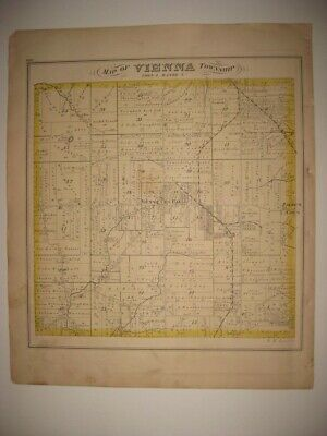 Antique 1874 Vienna Township Trumbull County Ohio Handcolored Map Brookfield Nr