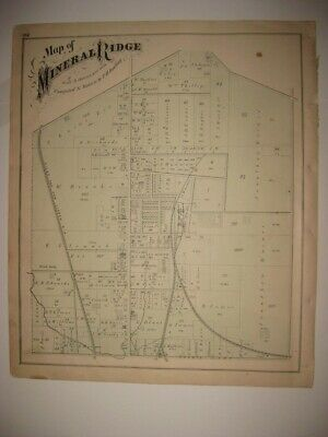 Antique 1874 Mineral Ridge Hubbard Weathersfield Trumbull County Ohio Hndclr Map