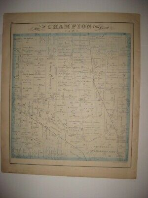 Antique 1874 Champion Lordstown Township Trumbull County Ohio Handcolor Map Fine