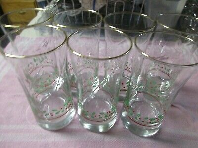 """Arby 's HOLLY AND BERRY set of 7 Christmas Swirl Glasses Tumblers 5+"""" Tall 1987"""