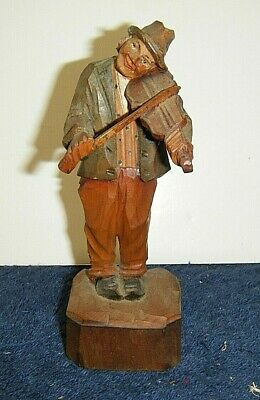 """Vintage Italian Anri Wooden Hand Carved Man Playing Violin Musician 5""""   #1"""