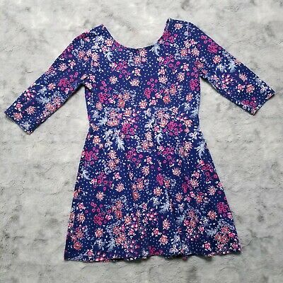 Old Navy Girls Dress Size S 6-7 Cotton Blue Red Floral 3/4 Sleeves Knit