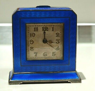 Antique Tiffany & Co Sterling Silver Blue Guilloche Enamel Travel Clock Art Deco