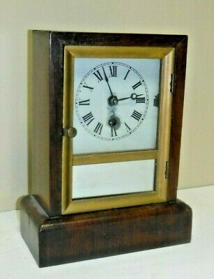 ANTIQUE E.N. WELCH, CONNECTICUT COTTAGE CLOCK WORKING c.1850 MIRROR FRONT + KEY