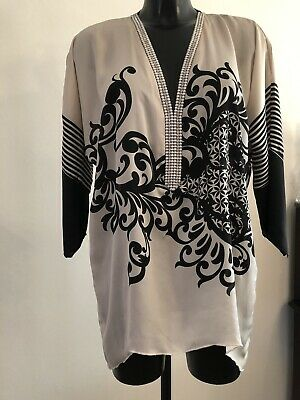 Laurie & Joe Black And Oyster Diamante V Neck Blouse Size 12-14