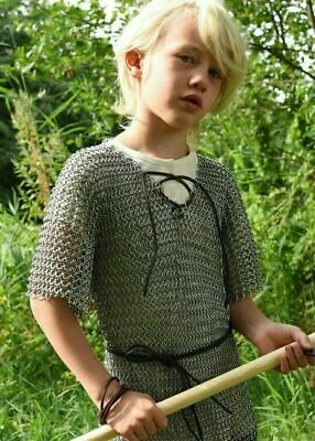 Medieval Chain Mail Shirt 10-15 Years Youth Size Chainmail Costume Zinc Plated