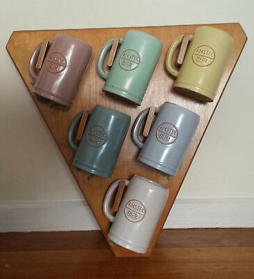 VINTAGE Amstel Bier Stein Beer Mugs and Display Stand - Pastel Colors - Ceramic