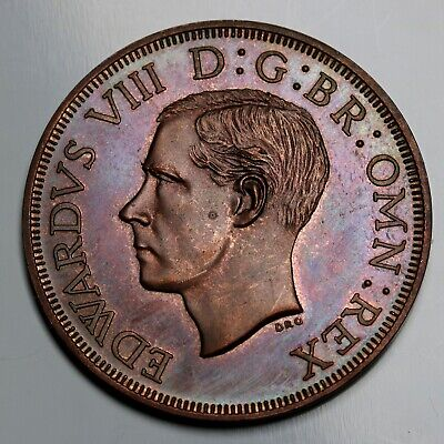 1937 South Africa Fantasy Crown / 5 Shillings Edward VIII  Coin  Copper PL Toned
