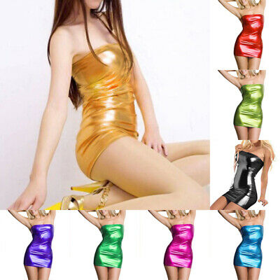 Womens Sexy Leather Wet Look Tube Mini Dress Glossy Bodycon Clubwear Dresses