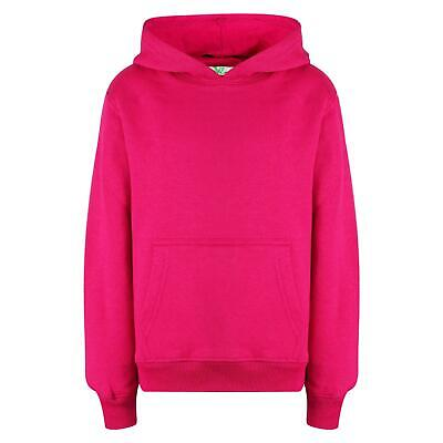Kids Girls Boys Sweat Shirt Tops Plain Pink Hooded Jumpers Hoodies Age 2-13 Year